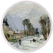 The Versailles Road At Louveciennes Round Beach Towel