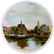 The View Of Delft Round Beach Towel
