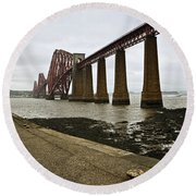 The View Of The Forth Bridge Round Beach Towel