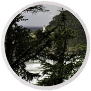 The View Of The Heceta Lighthouse Round Beach Towel