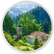 The Village Church - Impressions Of Mountains And Forests Round Beach Towel
