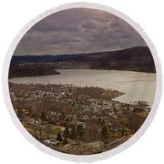 The Village Of Cold Spring And The Hudson River Round Beach Towel