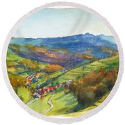 The Village Of Wieden In The Black Forest Round Beach Towel