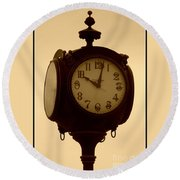 The Vintage Town Clock Round Beach Towel