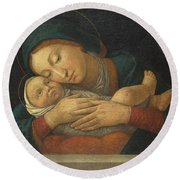 The Virgin And Child With Four Saints Round Beach Towel