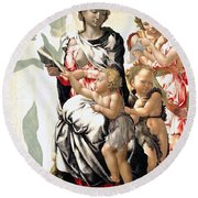The Virgin And Child With Saint John And Angels Round Beach Towel