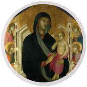 The Virgin And Child With Six Angels Round Beach Towel