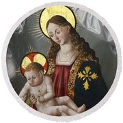 The Virgin And The Child With The Parrot Round Beach Towel
