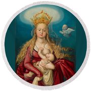 The Virgin As Queen Of Heaven Suckling The Infant Christ Round Beach Towel