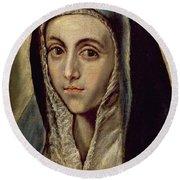 The Virgin Mary Round Beach Towel