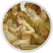 The Virgin Of The Angels Round Beach Towel