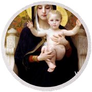 The Virgin Of The Lilies Round Beach Towel