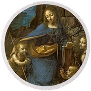 The Virgin Of The Rocks Round Beach Towel