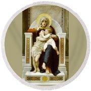 The Virgin The Baby Jesus And Saint John The Baptist Round Beach Towel