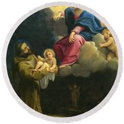 The Vision Of Saint Francis  Round Beach Towel by Carracci Ludovico