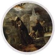 The Vision Of St Francis Of Paola Round Beach Towel