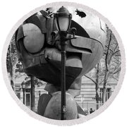 The W T C Plaza Fountain Sphere In Black And White Round Beach Towel