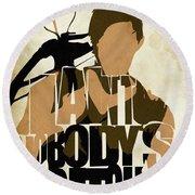 The Walking Dead Inspired Daryl Dixon Typographic Artwork Round Beach Towel by Ayse Deniz