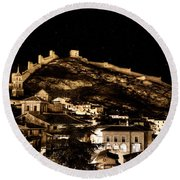 The Walls Of Albarracin In The Summer Night Spain Round Beach Towel