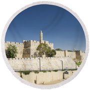 The Walls Of Jerusalem Old Town Israel Round Beach Towel
