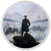 The Wanderer Above The Sea Round Beach Towel