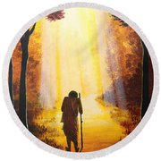 The Wandering Ascetic Round Beach Towel