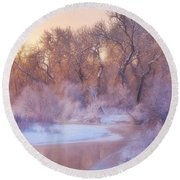 The Warmth Of Winter Round Beach Towel