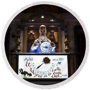 The Watchmaker At Sal Street Round Beach Towel