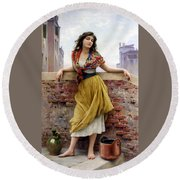 The Water Carrier Round Beach Towel