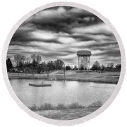 The Water Tower Round Beach Towel