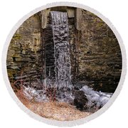 The Waterfall At Hagy's Mill Round Beach Towel