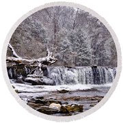 The Waterfall Near Valley Green In The Snow Round Beach Towel