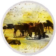 The Waterhole  Round Beach Towel