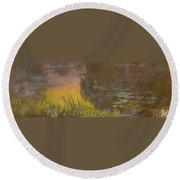 The Waterlilies At Setting Sun Round Beach Towel