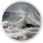 The Wave And The Rock Round Beach Towel