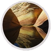 The Wave Reflected Beauty 2 Round Beach Towel