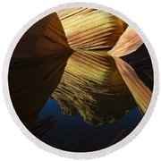 The Wave Reflected Beauty 3 Round Beach Towel