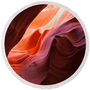 The Waves At Antelope Canyon Round Beach Towel