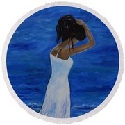 The Waves Of Beauty Round Beach Towel