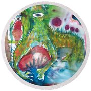 the WEDDING of the RABBITS Round Beach Towel