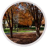The Well In The Distance-davidson College Round Beach Towel