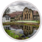 The Welsh Abbey Round Beach Towel by Adrian Evans