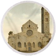 The West Facade Of The Church Of Saint Mary In Utrecht Round Beach Towel
