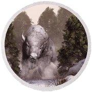 The White Buffalo Round Beach Towel by Daniel Eskridge