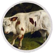 The White Calf Round Beach Towel by Gustave  Courbet