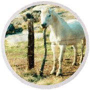 The White Horse Round Beach Towel