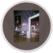 The White House Blue Room Round Beach Towel