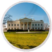 The White House In Washington Dc With Beautiful Blue Sky Round Beach Towel