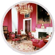 The White House Red Room Round Beach Towel