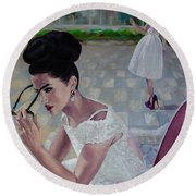 The White Lace Dress Round Beach Towel by Dorina  Costras